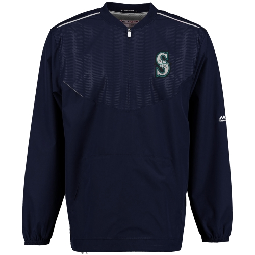 Seattle Mariners Majestic On Field Cool Base Training Half-Zip Jacket - Navy