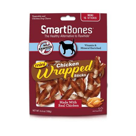 SmartBones Chicken Wrap-Mini Bones for Dogs, Sticks Chicken 15 Pk (Bone Wrap)