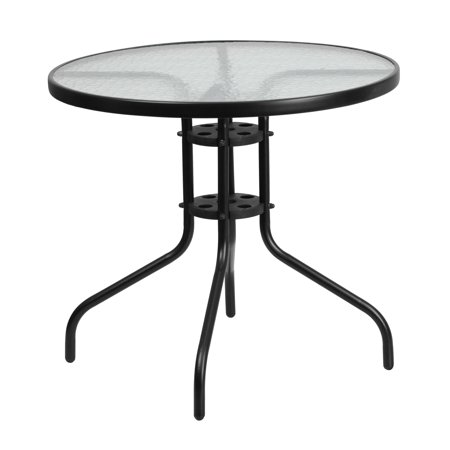 Flash Furniture 31.5'' Round Tempered Glass Metal Table ()