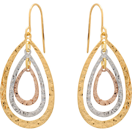 Simply Gold 10kt Yellow, Pink and White Gold Triple Teardrop Dangle Earrings