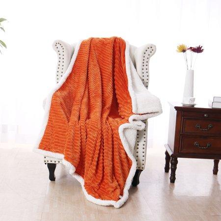 Soft Warm Reversible Fleece Throw Blanket Luxury Microfiber Plush Blanket for Sofa Couch Bed, Orange Throw(51