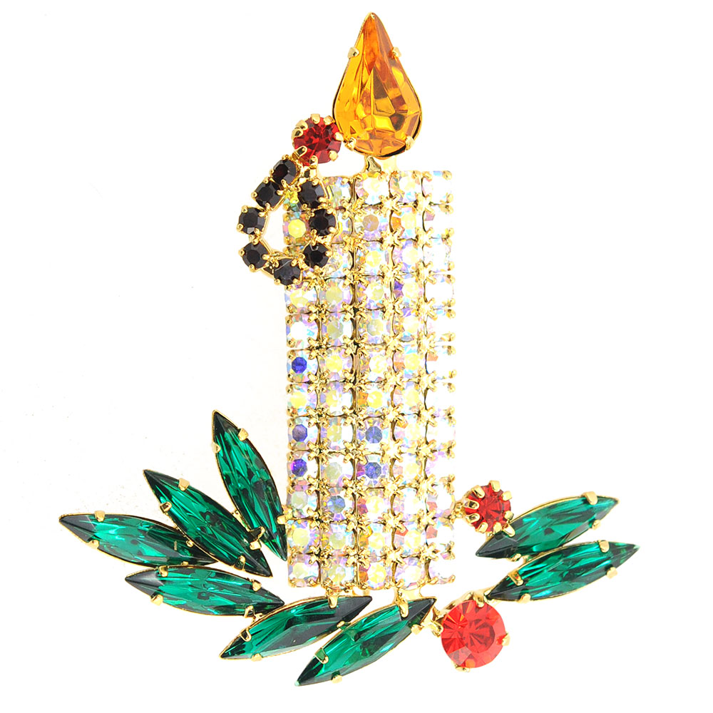 Yellow Flame Christmas Candle Brooch Pin by Yellow-Gold Brooches