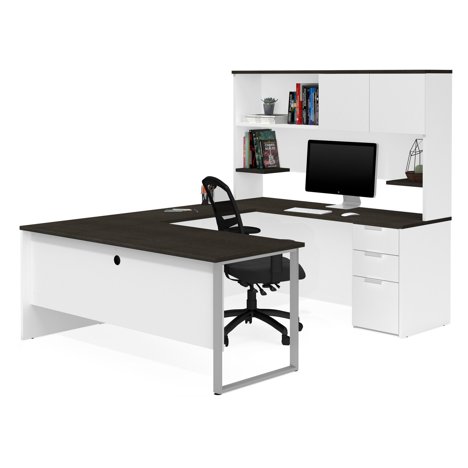 Pro-Concept Plus U-Desk with Hutch in White & Deep Grey