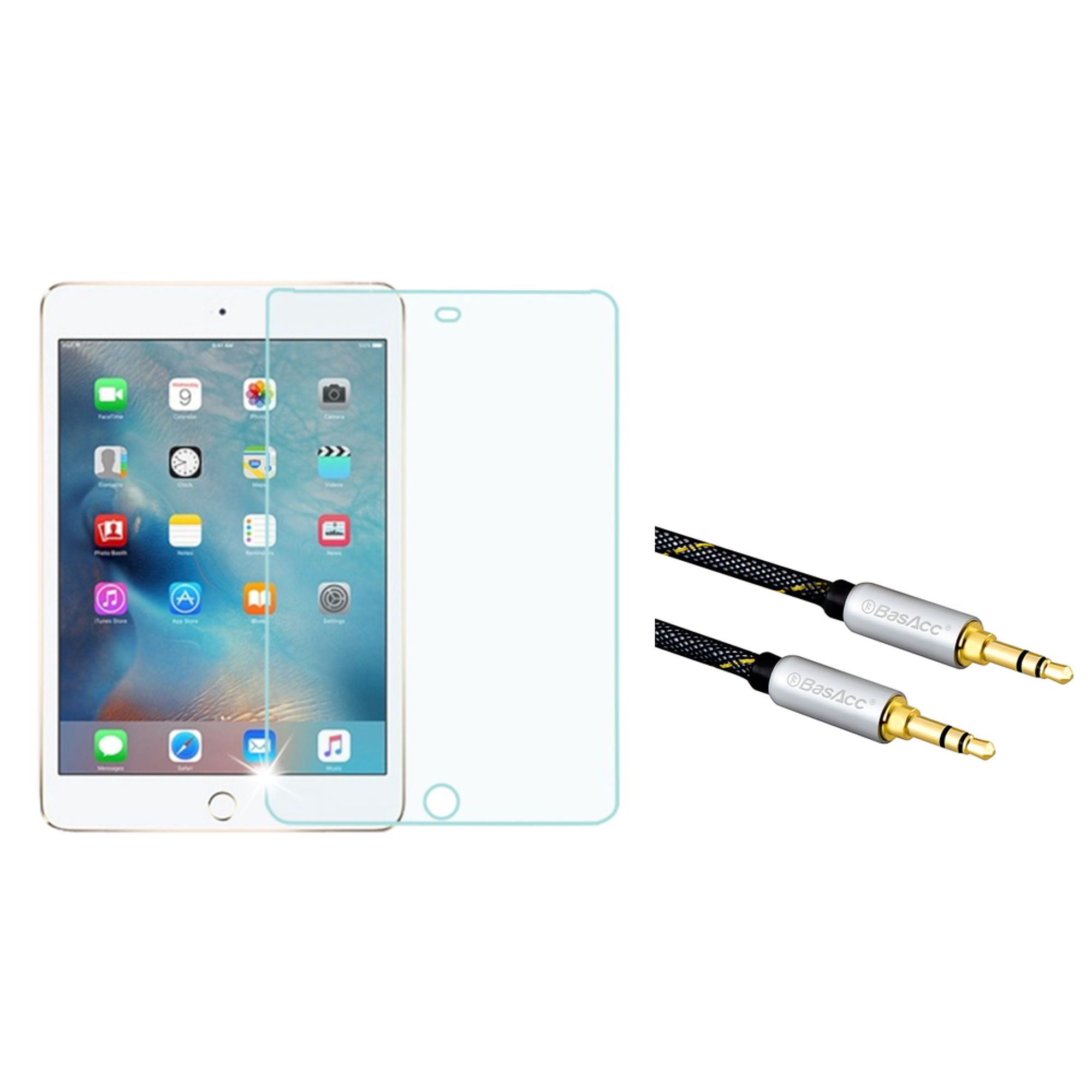 Insten Tempered Glass Screen Protector For iPad Mini 4 4th Gen (2015) (with 3.5mm Audio Extension Cable M/M) iPad Mini 2019