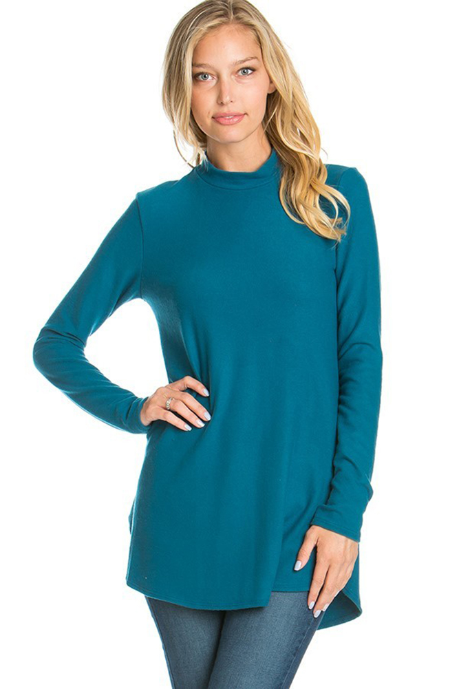 Azules Women's Mock Neck Turtleneck with High Low Hem Detai by Azules