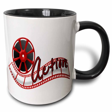 3dRose Cinema Movie Reel And The Word Action In Red and White - Two Tone Black Mug, 11-ounce