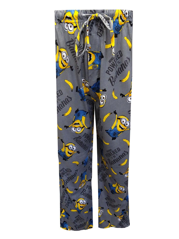 87826a234f1b8b Despicable Me - Despicable Me Mens Gray Minions Powered By Bananas Sleep  Pants Pajama Bottoms - Walmart.com