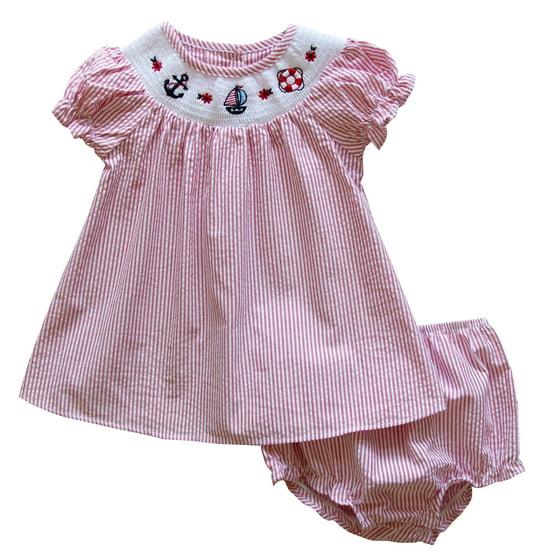 1eb1b93033108 Good Lad - Good Lad Newborn/Infant Girl Red Seersucker Smocked Dress ...
