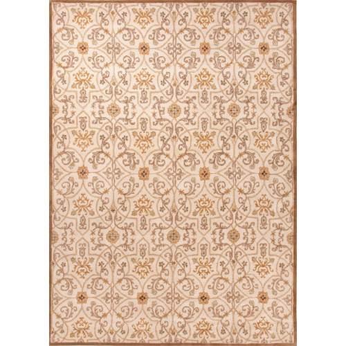 Classic Oriental Pattern Taupe/Orange Wool Area Rug (3.6x5.6)