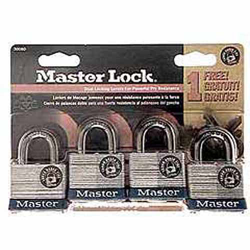 Master Lock 3008D 4 Pack No. 3 Padlock