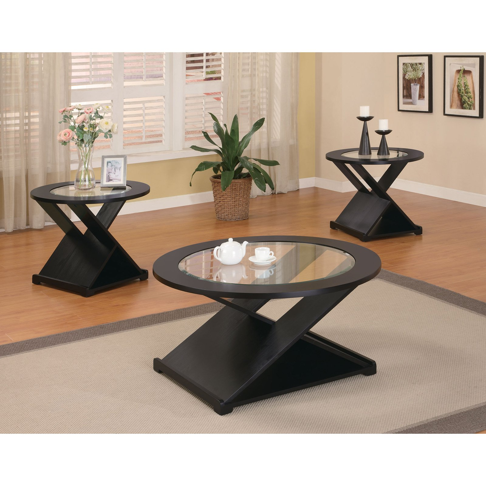 Coaster Furniture 3 Piece X Style Coffee Table Set