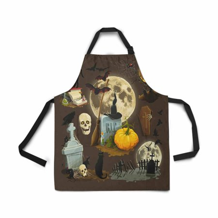 ASHLEIGH Halloween Celebration Pumpkin Apron Kitchen Cook for Women Men Girls Chef with Pockets Halloween Holiday Funny Adjustable Bib Baking Paint Cooking Apron Dress
