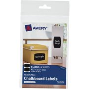 Avery Chalkboard Rectangle Label 2-Up, 4-Sheet