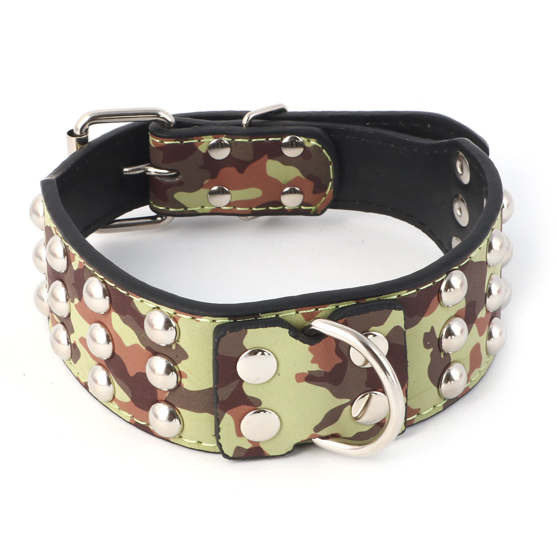 Faux Leather Spiked Rivets Camouflage Pattern Design Pet Pitbull Dog Cat Collar