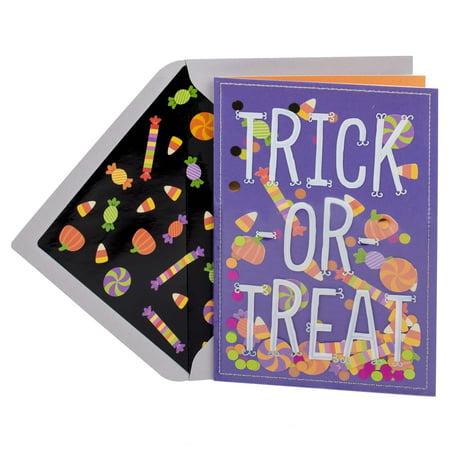Hallmark Signature Halloween Card (Candy Confetti) Trick Or Treat Candy Corn