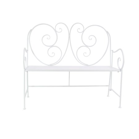 Decmode Traditional 39 X 43 Inch White Iron And Wood Scroll Patio Bench