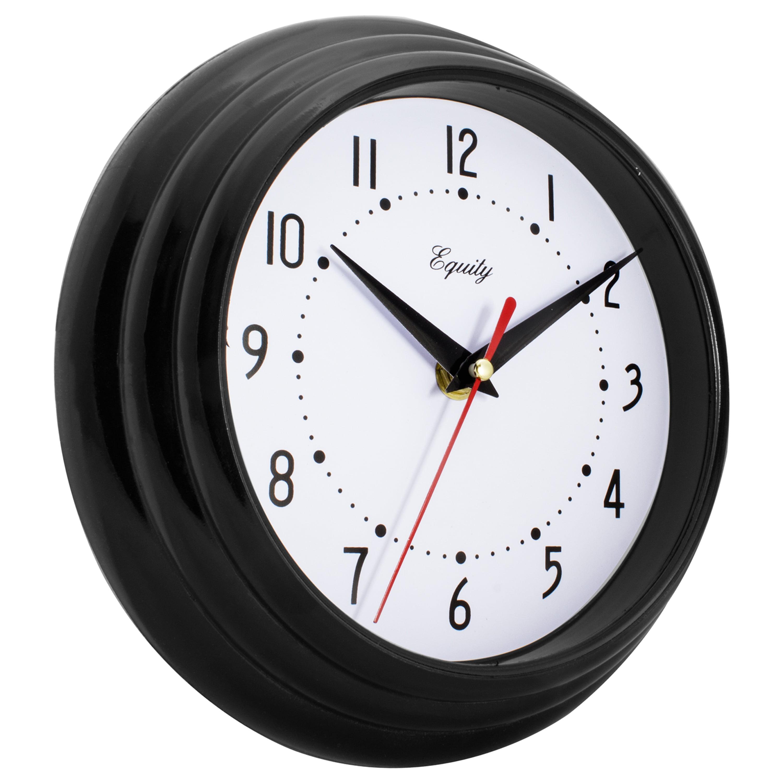 "Black And White Wall Clock la crosse technology equity 8"" black wall clock - walmart"