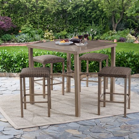 Better Homes and Gardens Meads Bay Outdoor Patio Dining Set, Wicker Bar Height