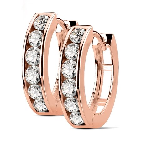 Pair of Surgical Steel/14k Gold Plated/Rose Gold Plated CZ Lined Huggie Hoop Earrings (Choose Style)