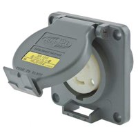 HUBBELL WIRING DEVICE-KELLEMS Watertight Locking Receptacle,30,Gray HBL2610SW
