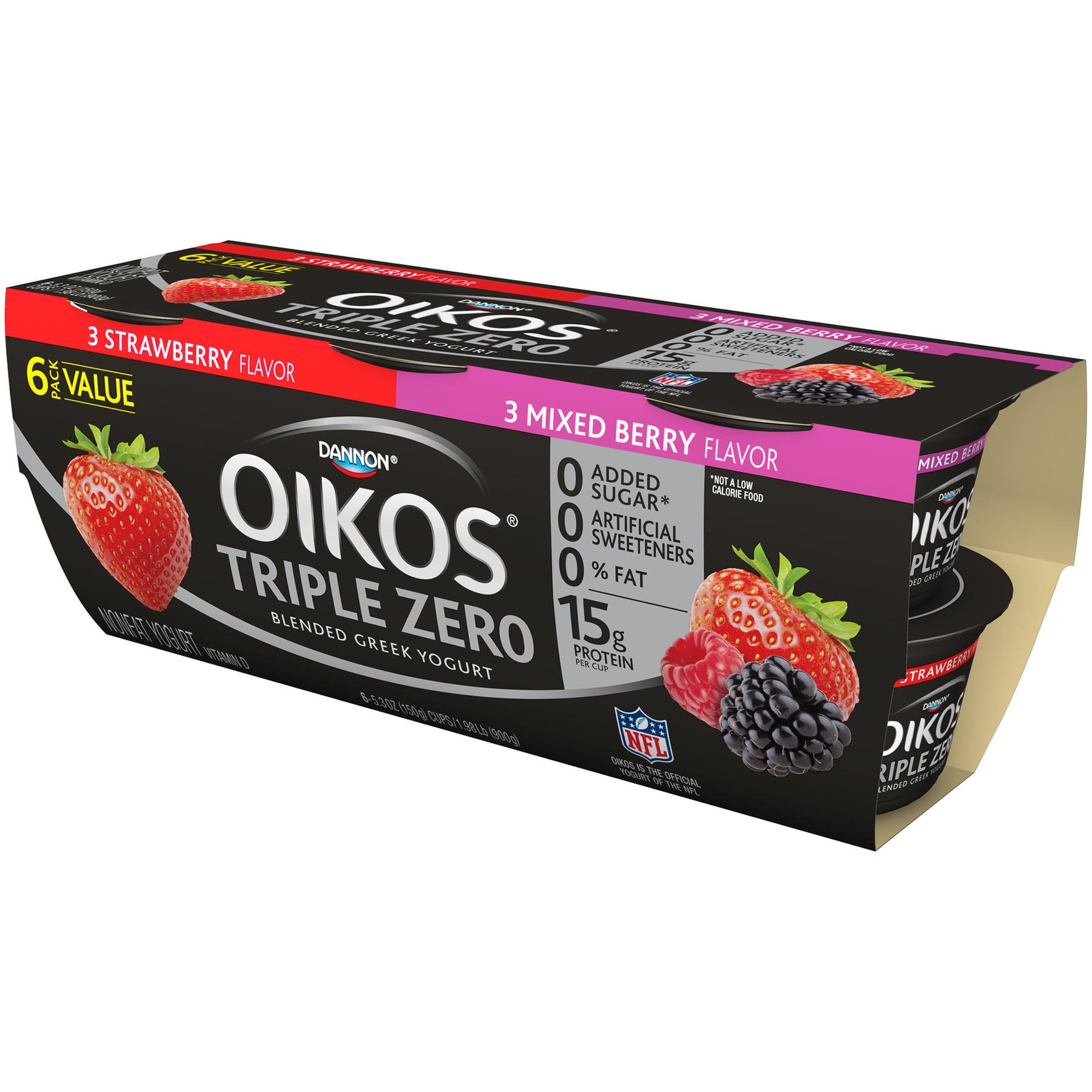 Oikos, Triple Zero Strawberry/Mixed Berry Greek Nonfat Yogurt, 5.3 Oz., 6 Count