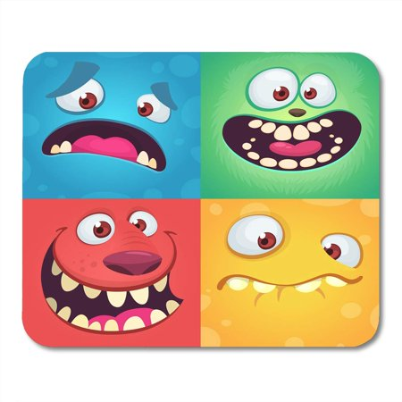 LADDKE Cartoon Monster Faces of Four Halloween with Different Expressions Children Book Illustrations Party Mousepad Mouse Pad Mouse Mat 9x10 inch (Halloween Faces Cartoon)