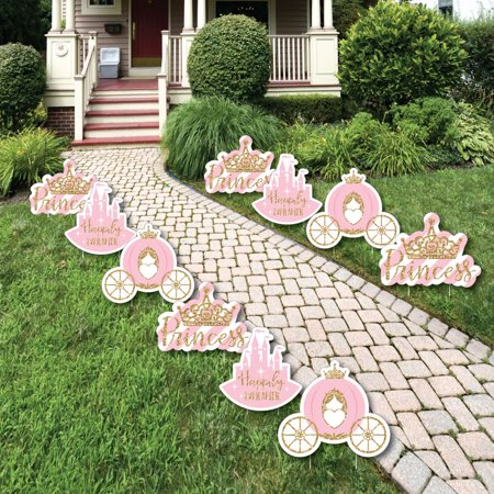 Little Princess Crown - Tiara, Castle & Carriage Lawn Decorations - Outdoor Baby Shower or Birthday Yard Decor - 10 Ct (Princess Baby Shower Decorations)