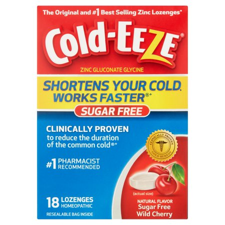 Cold-Eeze Zinc Gluconate Glycine Homeopathic Wild Cherry Lozenges, 18 count