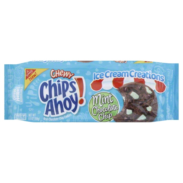 Nabisco Chips Ahoy! Ice Cream Creations Mint Chocolate Chip Cookies, 9.5 Oz.