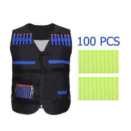Kids Elite Black Tactical Vest with 100 PCS EVA Round Head Soft Bullets Refill Darts For N-Strike Elite Series Toy (Expanding Bullets)