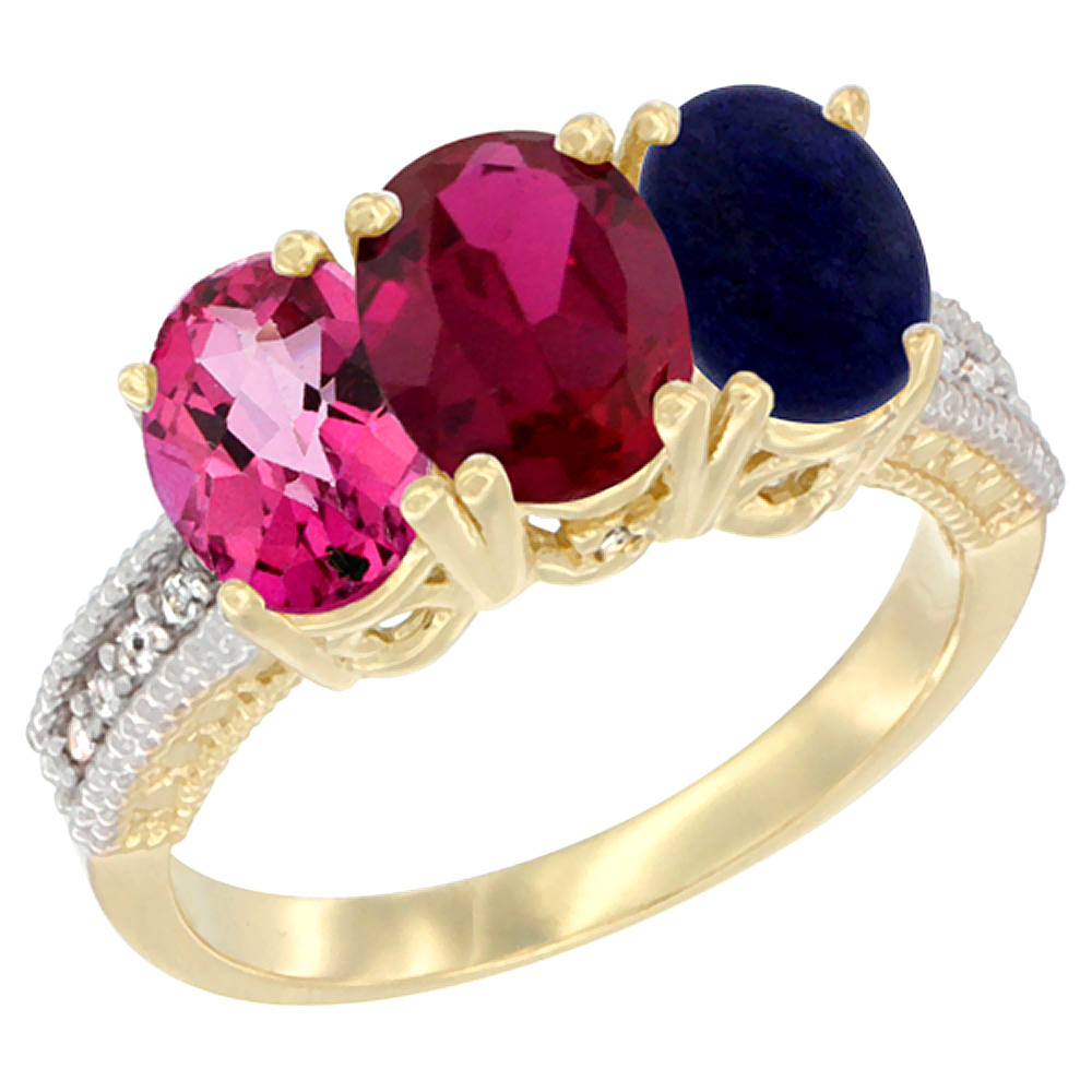 10K Yellow Gold Diamond Natural Pink Topaz, Enhanced Ruby & Lapis Ring 3-Stone 7x5 mm Oval, sizes 5 10 by WorldJewels
