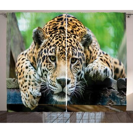 Jungle Basket - Jungle Curtains 2 Panels Set, South American Jaguar Wild Animal Carnivore Endangered Feline Safari Image, Window Drapes for Living Room Bedroom, 108W X 84L Inches, Orange Black Green, by Ambesonne
