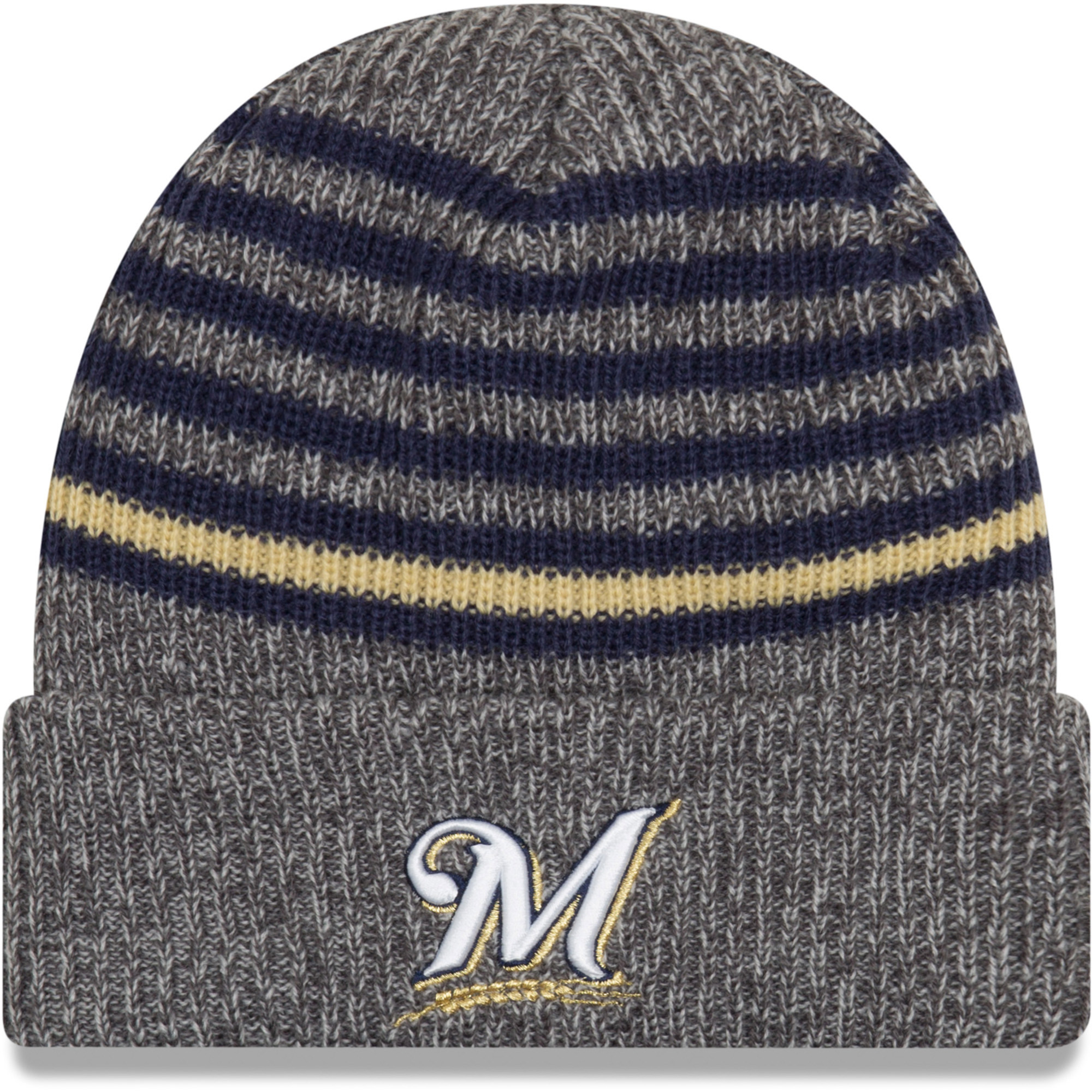 reputable site d6457 dbc36 ... best price milwaukee brewers new era stripe strong cuffed knit hat gray  osfa 88810 1dc47