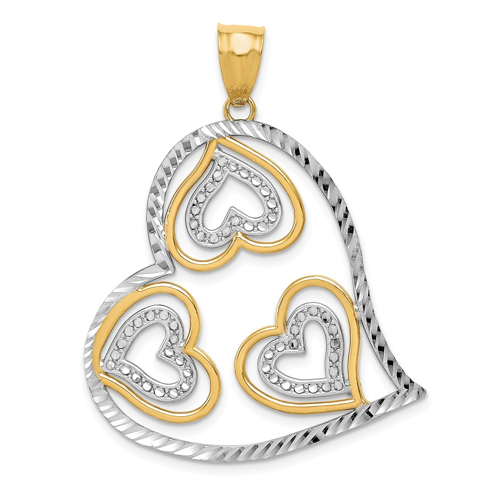 14K Yellow Gold and Rhodium D/C Heart Pendant