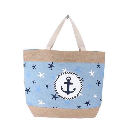 Nautical Anchor Burlap Print Over Sized Beach Tote Bag Red Blue - Blue