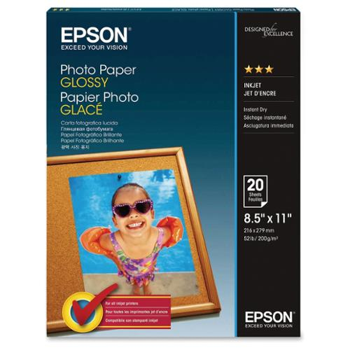 "Epson S041141M White Photo Paper 8.50"" x 11"" W/ Quick-drying Surface And Glossy Finish"