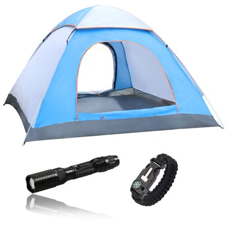 Blue and White Waterproof 3-4 Person Camping Tent Bundle with Paracord Survival Bracelet and Tactical Zoomable Flashlight - EASY SET UP SHELTER FOR OUTDOORS MOUNTAIN BEACH HIKING