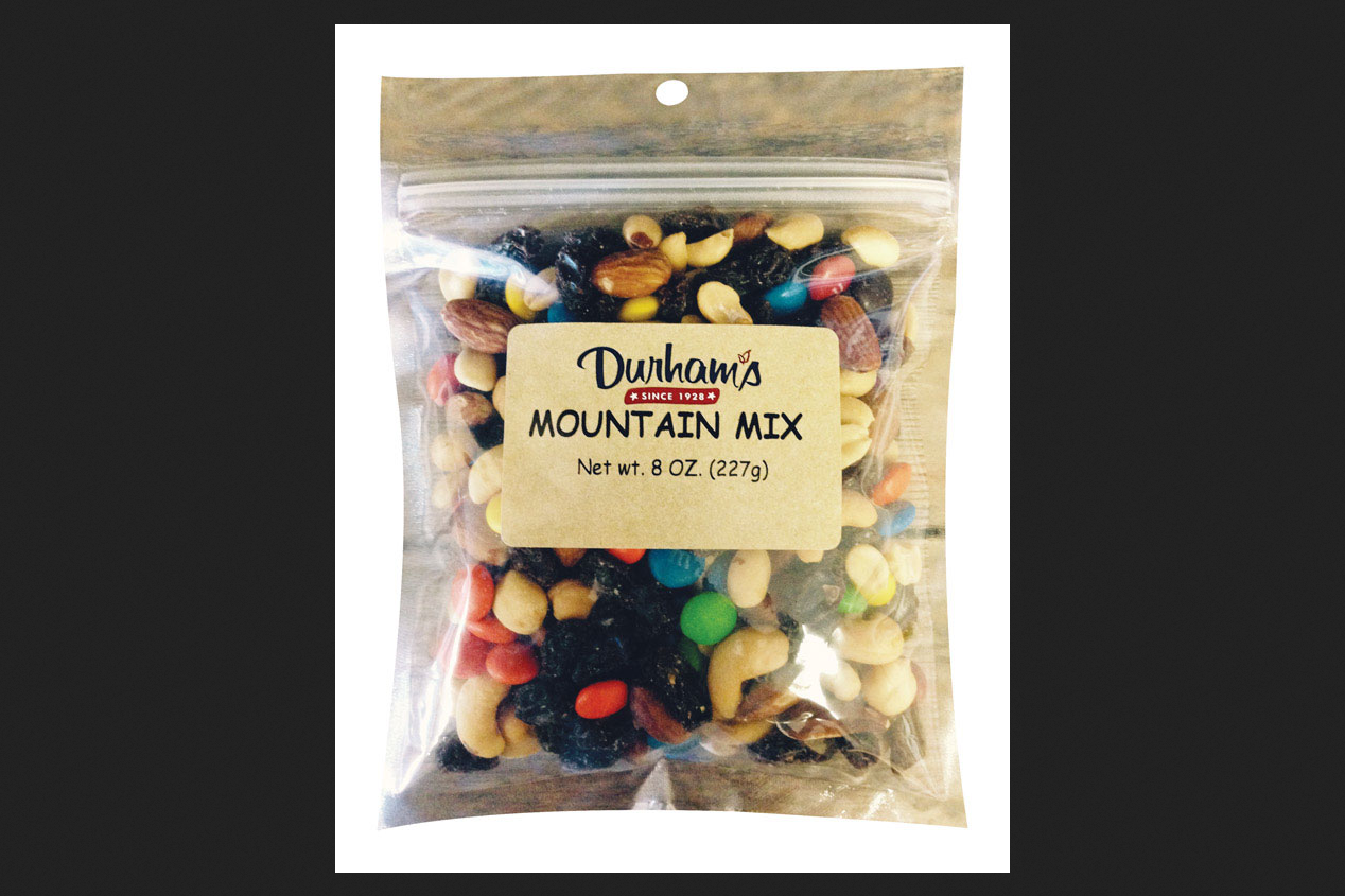 Durhams Nuts Mix Trail Chocolate Raisins 8 Oz Peggable Bag