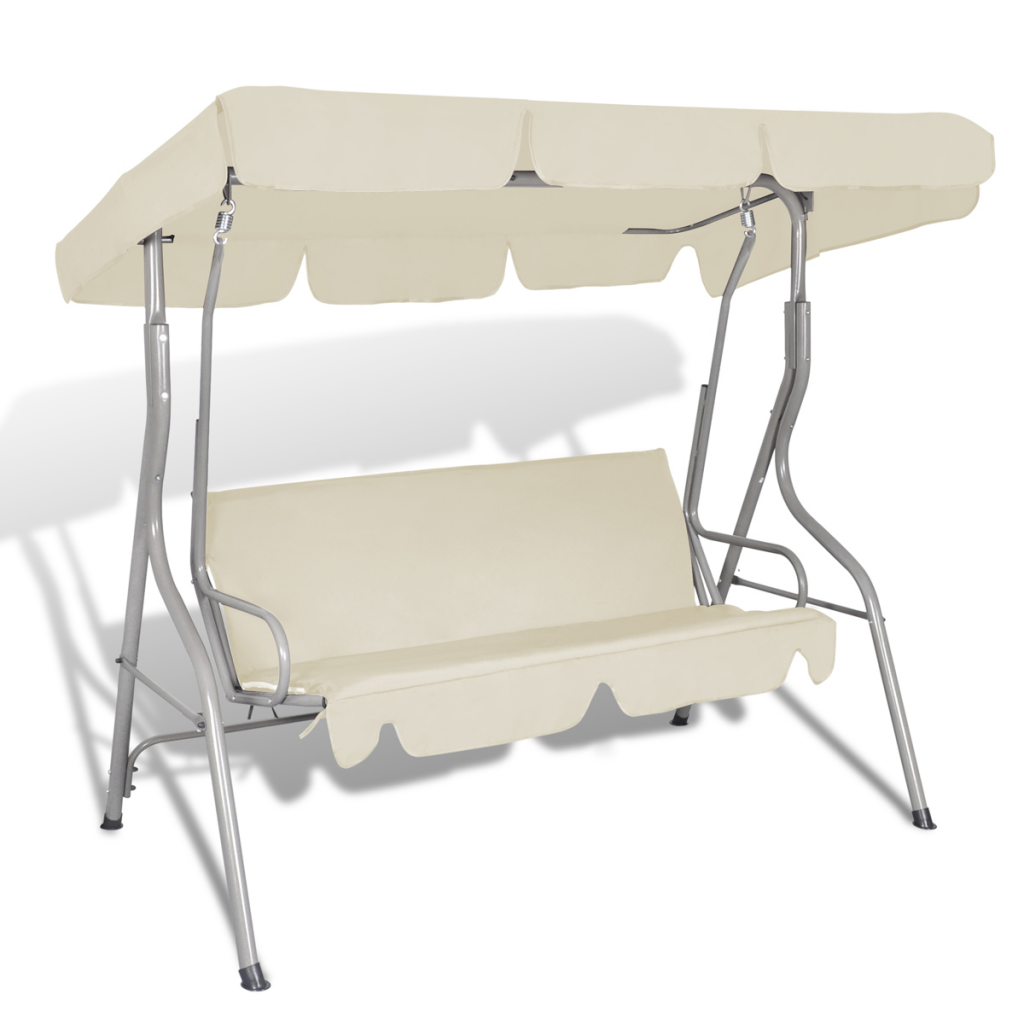 Outdoor Hanging Swing Chair with a Canopy Sand White for 3 Persons
