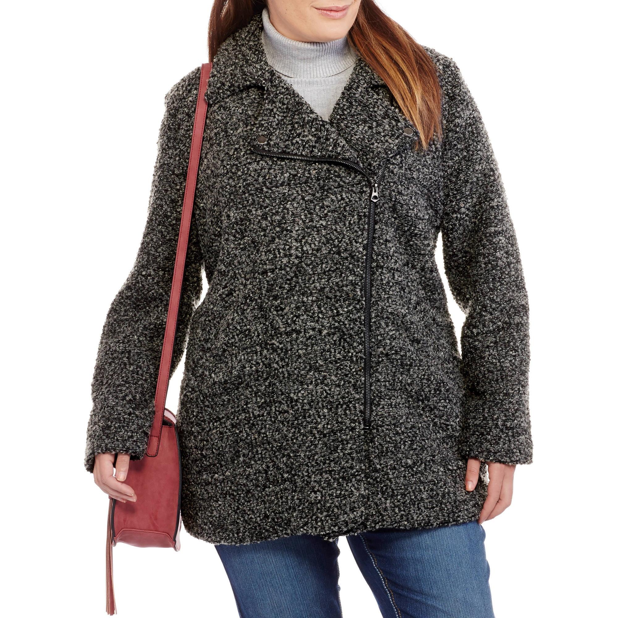 Maxwell Studio Women's Plus-Size Boucle Asymmetrical Moto Coat