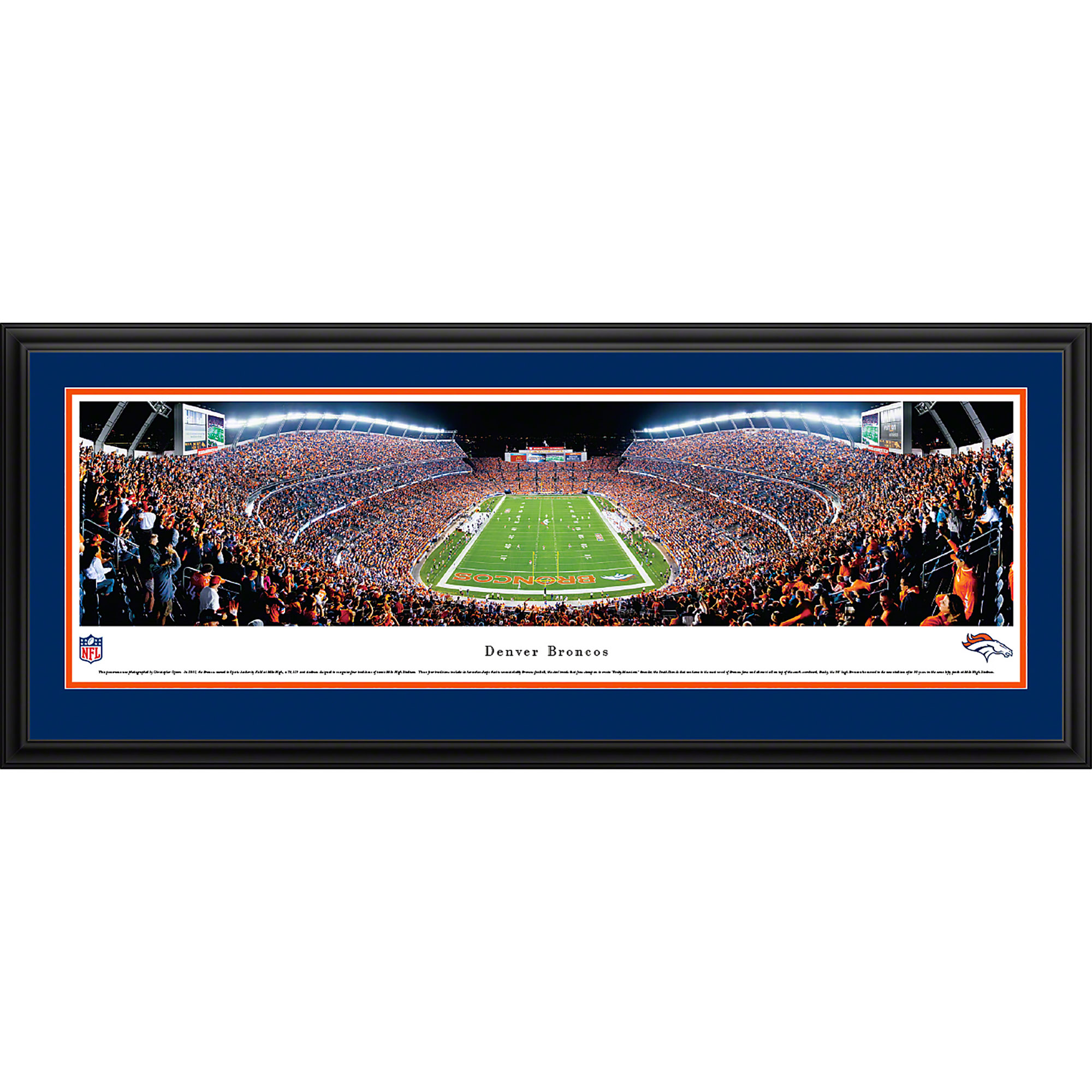 Denver Broncos - End Zone at Sports Authority Field at Mile High - Blakeway Panoramas NFL Print with Deluxe Frame and Double Mat