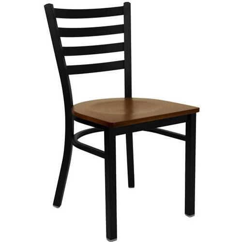 Ladder Back Chairs - Set of 2, Black Metal / Mahogany Wood Seat