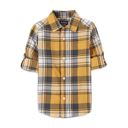 The Children's Place Boys 4-16 Long Sleeve Plaid Button Down Shirt