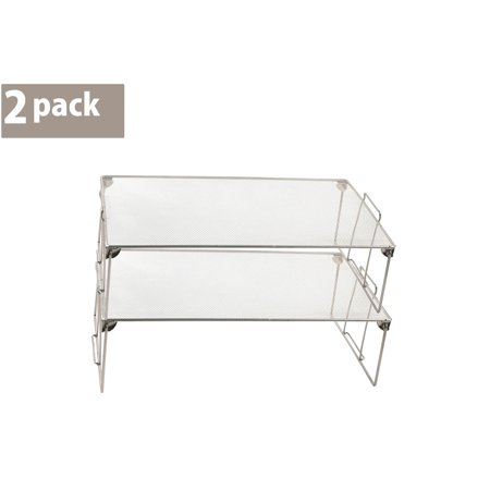 Stackable Storage Shelves (Ybm Home Stackable Mesh Shelf Silver Storage Rack for Kitchen/Office Wire Organizer 22 In. L x 12 In. W x 6.5 In. H 2 Pack )
