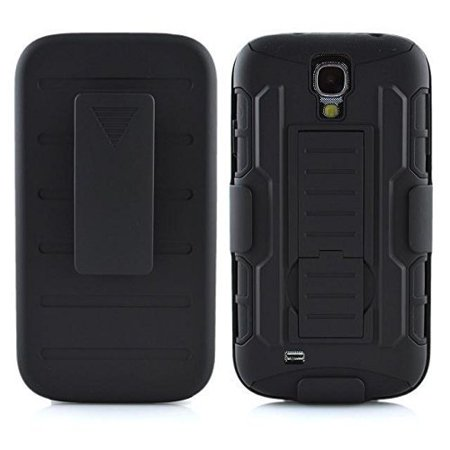 For Samsung Galaxy S4 Active i537 - Wydan Hybrid Armor Tank Holster 3 Piece Kickstand Holster Belt Clip Shockproof Protective Phone Case Cover