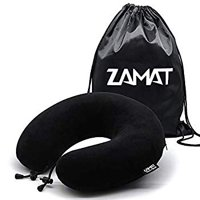 Breathable & Comfortable Memory Foam Travel Pillow, Adjustable Travel Neck Pillow for Airplane Travel, 360° Stable Neck Support Airplane Pillow with Soft Velour Cover, Portable Drawstring Bag