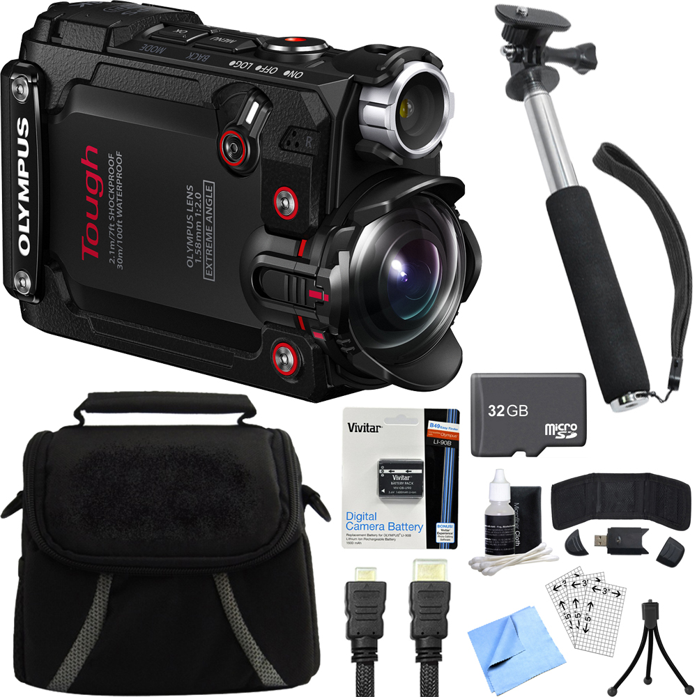"Olympus Stylus TG-Tracker Waterproof 4K Action Cam Black Accessory Bundle includes Camera, 43"" Telescopic Selfie Stick, Bag, HDMI Cable, Battery, 32GB microSD Memory Card, Beach Camera Cloth and More"