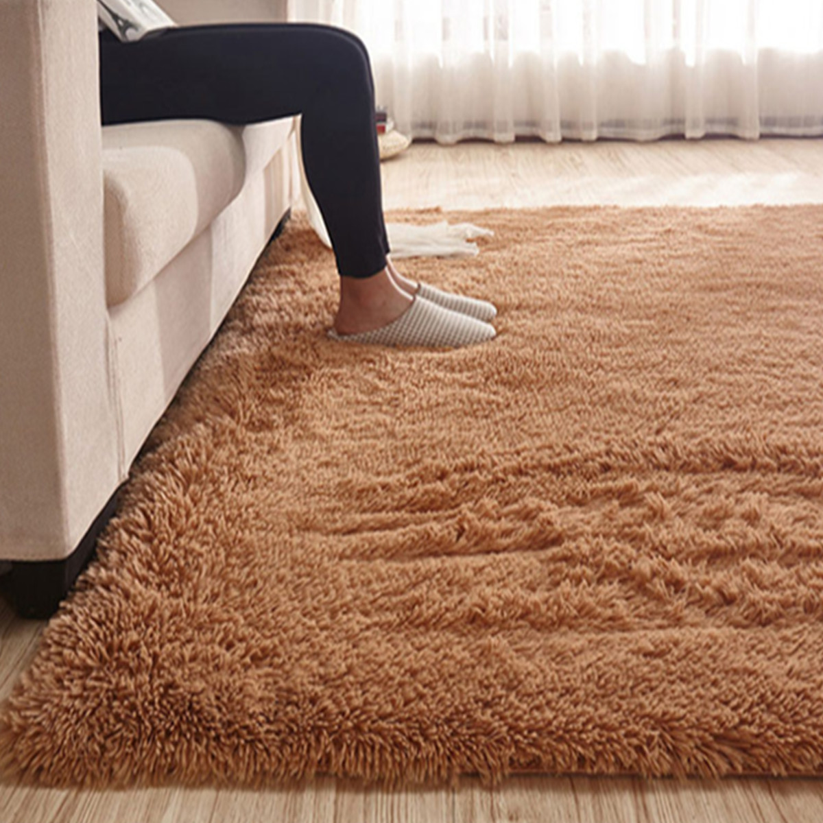 6 Colors Soft Floor Rug Solid Fluffy Shag Shaggy Area Rug