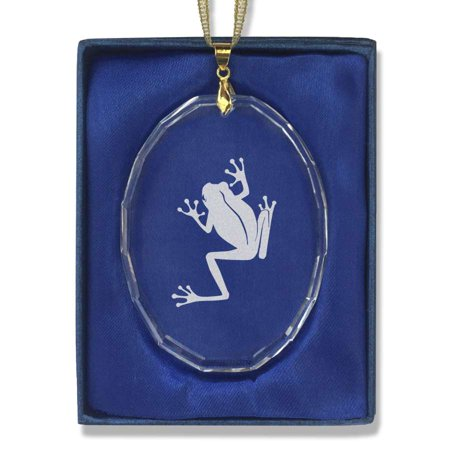 - Oval Crystal Christmas Ornament - Tree Frog