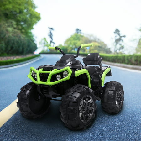Kids Ride ON Toys 12 Volt Jeep, Battery Powered Quad Ride ON Cars, 4-Wheeler ATV Ride ON Toy w/ 2 Speed, LED Lights, AUX Jack, Radio, Electric Motorcycle for Boys / Girls, 3-8 Years Old, Green,